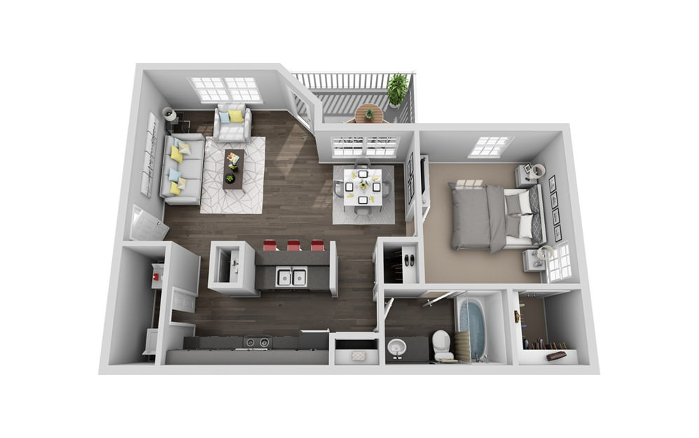 A1 - 1 bedroom floorplan layout with 1 bath and 780 square feet.