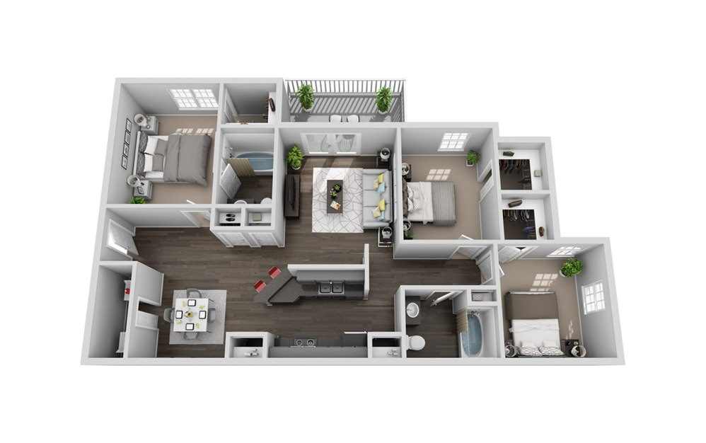 C1 - 3 bedroom floorplan layout with 2 baths and 1271 square feet.